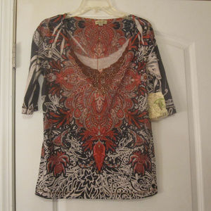 One World Womens Top Multi-color L. Size  New.